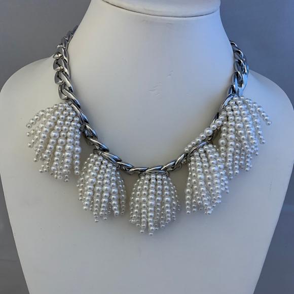 Banana Republic Pearls Tassel Big Necklace